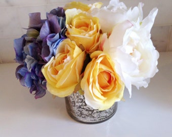 Fine Silk Floral Arrangement Faux White Peonies, Blue hydrangea and Yellow Roses in Mercury Vase by La Fleur