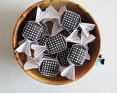 12 wedding favor boxes . origami candy shape boxes . bridal shower favor boxes . party favor boxes -black berry