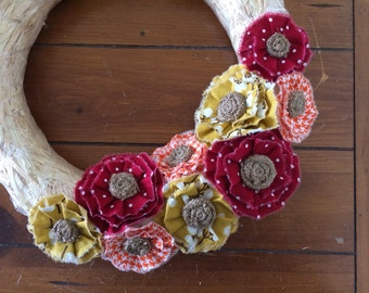Wreath Attachment, Yellow and Orange Fabric with Burlap Centers, Removable, Fall Burlap Wreath