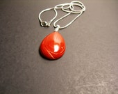 Classic Genuine Red Jasper Teardrop gemstone pendant chain included