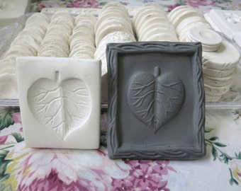 Clay Stamp Leaf Morning Glory Press Mold - Relief Mold or Leaf Sprig Mold - Bisque Clay Stamp for Ceramic Decoration and Texture