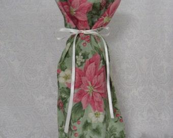 Wine Bottle Gift Bag Christmas Pink Poinsettias