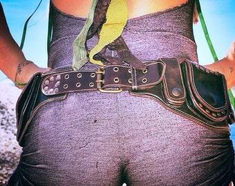 Black or brown sycamore pocket belt/ belt bag/ festival belt/burning man belt/ utility belt