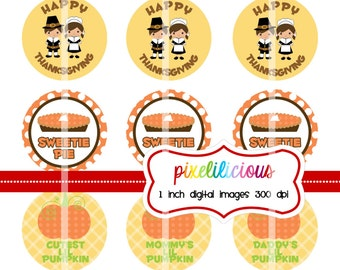 Bottle Cap Image Sheet - Instant Download - Thanksgiving 2 -  1 Inch Digital Collage - Buy 2 Get 1 Free