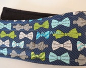 Dog Diaper Belly Band, End Marking, Male Dog, Blue and Grey Bow Tie, Personalized