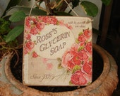 small vintage roses soap,advertising image,sealed onto wood with string hanger
