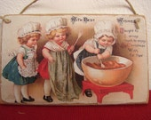 Victorian Children making Christmas pudding, vintage image on wood, decoration/small gift