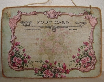 pink roses & cherub,vintage postcard image on natural wooden tag-French home accents