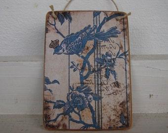 French shabby chic,bird image,on wooden tag/dresser/door hanger-spring garden idea
