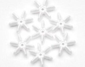 10mm White Starflake Beads - 500 Beads
