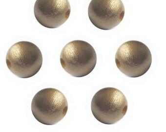 12mm Gold Round Wood Beads (50 Beads)