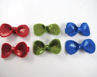 Red Hair Bows - Green Hair Bows - Blue Hair Bows - Hair Bow Set - Small Hair Bows - Red - Green - Blue - Hair Clips - Hair Bows