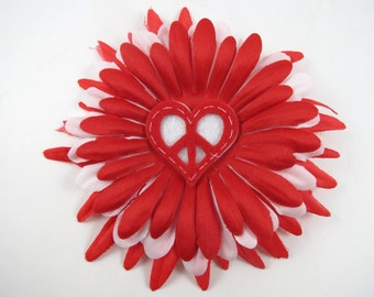 Heart Flower Hair Bow - Heart Hair Clip - Red Hair Bow - Red Flower Clip - Valentines Hair Clip - Heart Hair Clip - Red White Hair Clip
