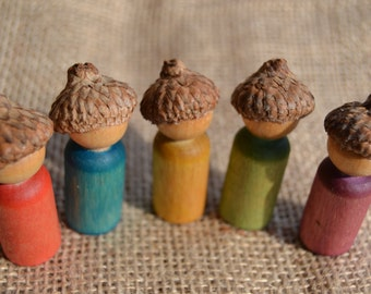Peg People Acorn Children - Nature and Waldorf Inspired Wooden Play Figures