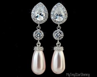 PINK Pearl Earrings Bridal Jewelry Bridal Earrings Wedding Earrings Wedding Jewelry Bridal Jewelry Crystal Jewelry Pearl Drop Earrings