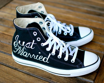 Hand Painted Just Married Converse - Black Canvas Chucks - Wedding Converse