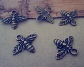 40pcs Antique Bronze bees pendant Charms 13mmx15mm