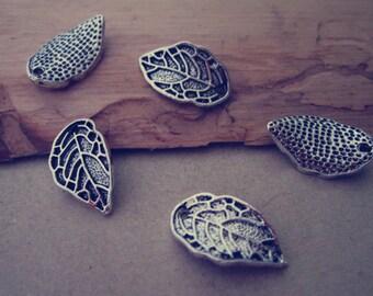 30pcs Antique silver leaves charm pendant  10mmx16mm