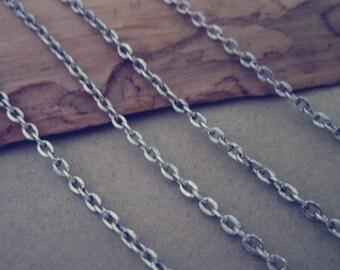 6.6ft (2m) antique Silver pendant  chain 2mm