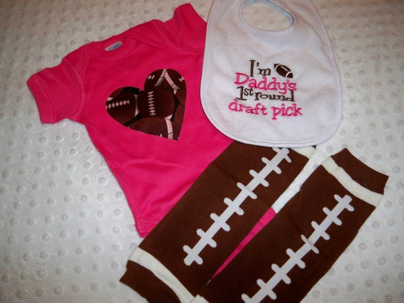 Baby Girl Football Bodysuit Leg Warmers by