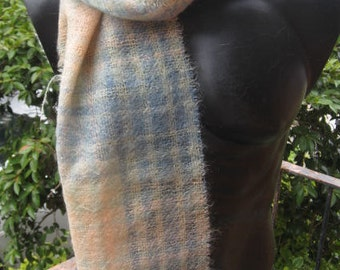 Musky pink, pastels blue,  green mohair scarf ~ winter warmth