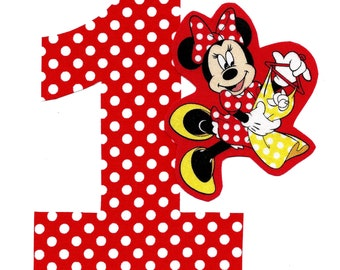 DIY number 1 and Minnie iron on applique