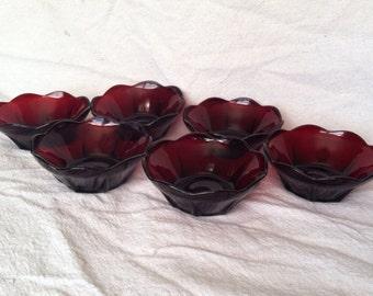 Anchor Hocking Ruby Red Georgian Custard Bowls- Set of 6