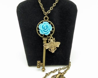 Necklace, Brass Skeleton Key, Pink Rose Necklace, Bumble Bee Necklace, Spring Necklace, Garden Necklace