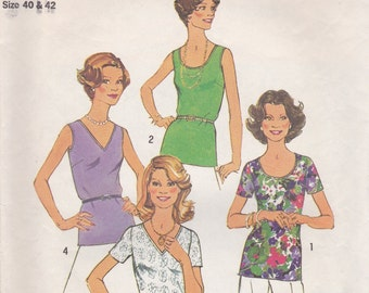 Vintage T-Shirt & Tank Top Pattern Simplicity 6975 Size 18-20