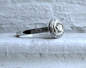 Vintage 14K White Gold Diamond Halo Engagement Ring - 0.96ct.