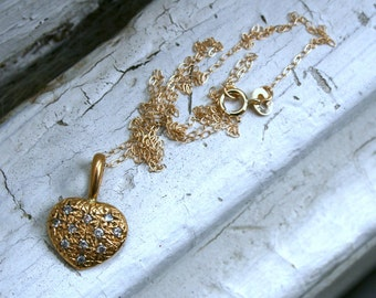 RESERVED - Vintage French 18K Yellow Gold Pave Diamond Heart Pendant with Chain.