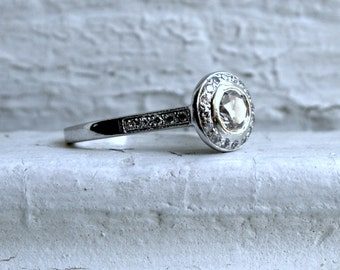 Vintage 14K White Gold Diamond Halo Engagement Ring - 0.96ct.
