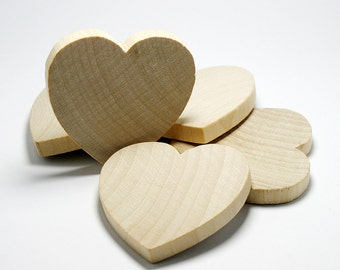 """20 Solid Wood Hearts, 2"""" x 2"""", 1/4"""" Thick,  Natural Wood Heart  for Crafting, Staining, Painting, (#H025)"""