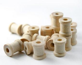 """100 Mini Wooden Spools, 1/2"""" Tall and  5/8"""" Wide , Tiny Wood Spools, (#W30)"""