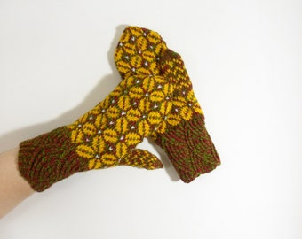 Hand Knitted Mittens - Red, Green and Yellow, Size Medium