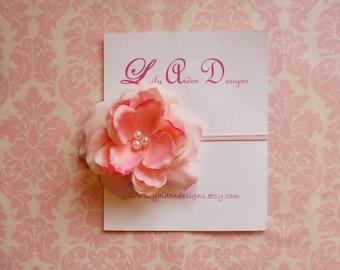 Pinky peach flower blossom headband/ newborn headband/ baby headband