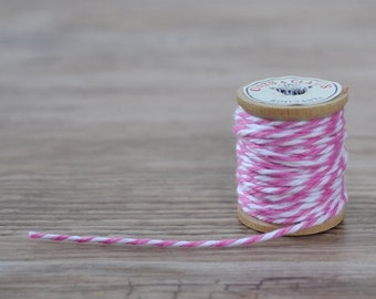Premium Bakers Twine Pink and White 25 Yards Super Soft String