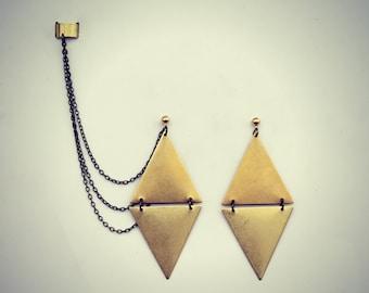 ear cuff triangles earrings, chains ear cuff, triangle ear cuff, floral earrings, geometric earrings