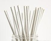 25 Metallic Silver Chevron Paper Straws - Garden Partys, Wedding, Birthday, Baby Shower, Celebrations