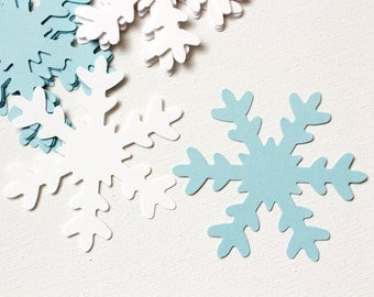 25 White and Winter Blue Large Snowflakes Die cuts punches cardstock 3 inch -Scrapbook, cards, embellishment, confetti