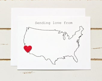 Sending Love from USA Map - Customized Stationary Cards Valentine's Day