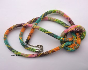 AN007 - Extra Long Bright Bead Crochet Necklace - Beaded Necklace - Handmade Beadwork Necklace - Long Colorful Bead Necklace