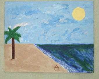 Summer Beach Scene Canvas Painting - Hand Painted