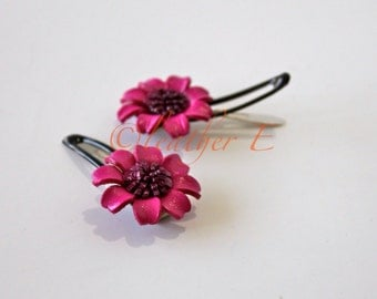 Alyssum Colorful Leather Flower on Bendy Hair Clips Hairpins