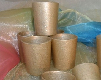18 ~ Gold Votive Candle Holders for Weddings and Parties, Glitter and Shimmer  18 in order