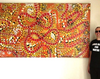 FREE SHIPPING original large abstract orange color surreal pop art street art painting