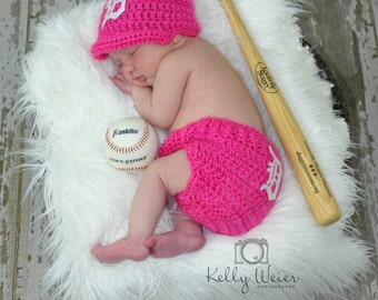 Baseball  cap  & Diaper cover   Baby Girl Clothes Newborn Baby Girl Clothes, Newborn Girl, Coming Home Outfit, Infant Girl, Crochet Hats