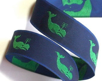 """Whale/ Woven Jacquard Ribbon , 1"""" Navy and Green"""