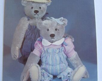 Teddy Bear Postcard  -  Country Couple - Vintage 1980s