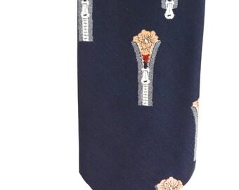 Vintage Necktie 40s Men's Zipper Floral Tie 1950 mad men accessory dapper